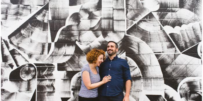 east vancouver engagement photos, vancouver engagement photography, vancouver wedding photography, bc wedding photographer, documentary engagement session, candid engagement photography, vancouver mural fest, tyler keeton robbins mural, mural engagement photos, red hair, red headed bride