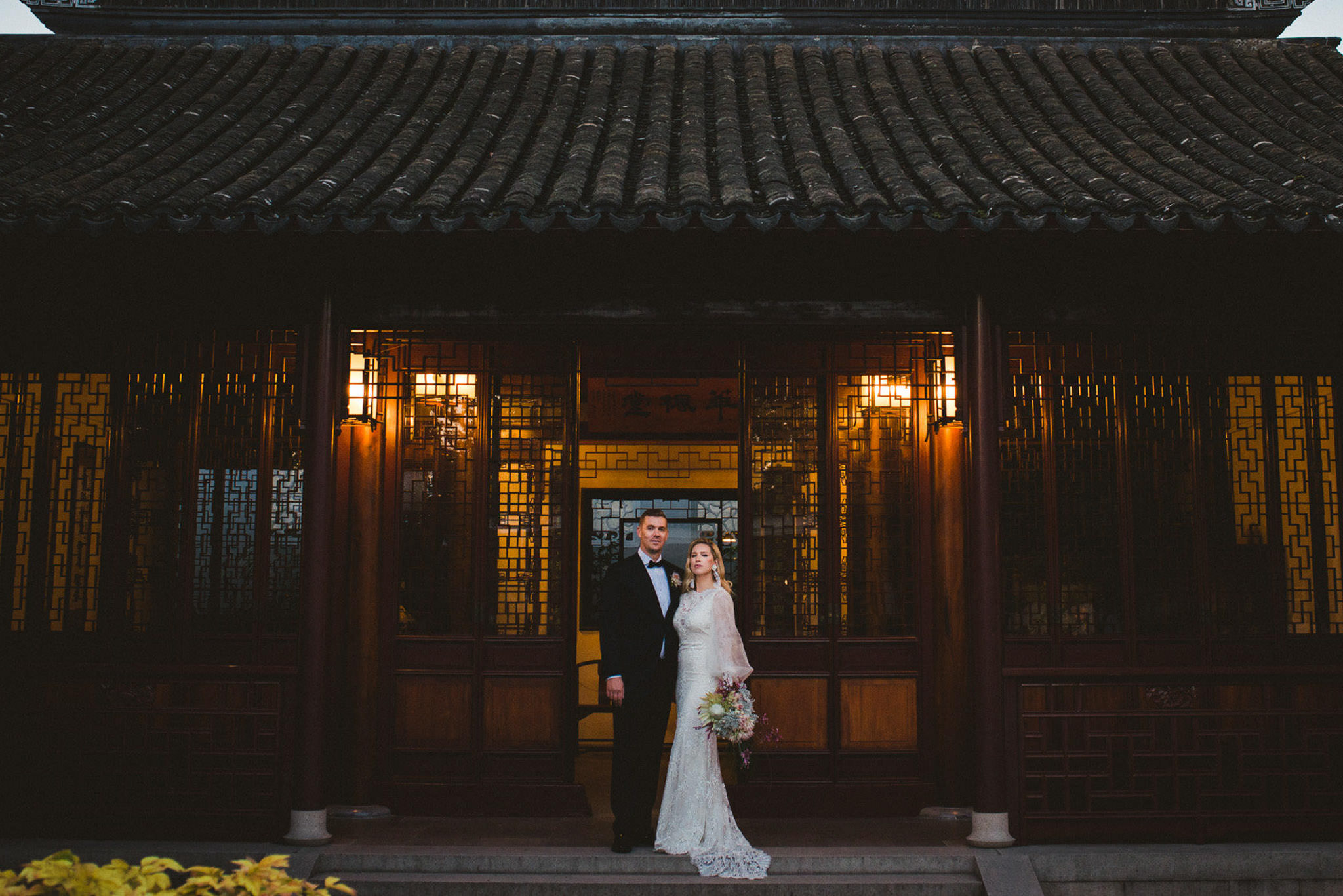Dr. Sun Yat-Sen Classical Chinese Garden wedding, Sun Yat-Sen garden wedding, chinese garden wedding, Vancouver, wedding photographer, wedding photography, stylish wedding, elegant wedding, non traditional wedding, DIY wedding dress, Wilfred, Aritzia, architectural wedding photos, sunset, dusk