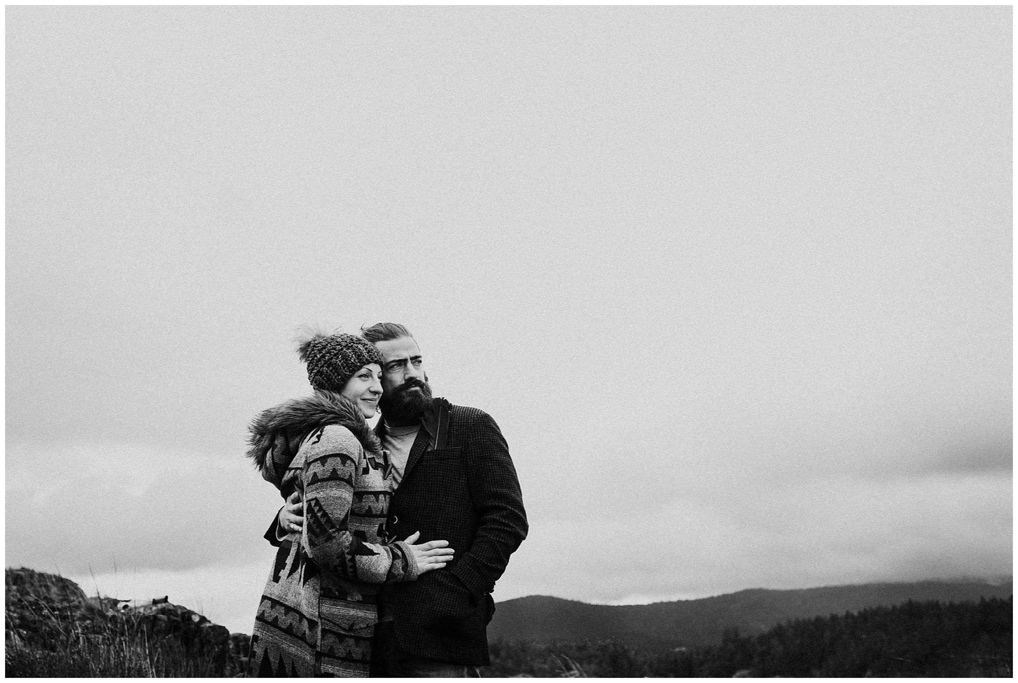 black and white photo of couple during Thormanby Island engagement session