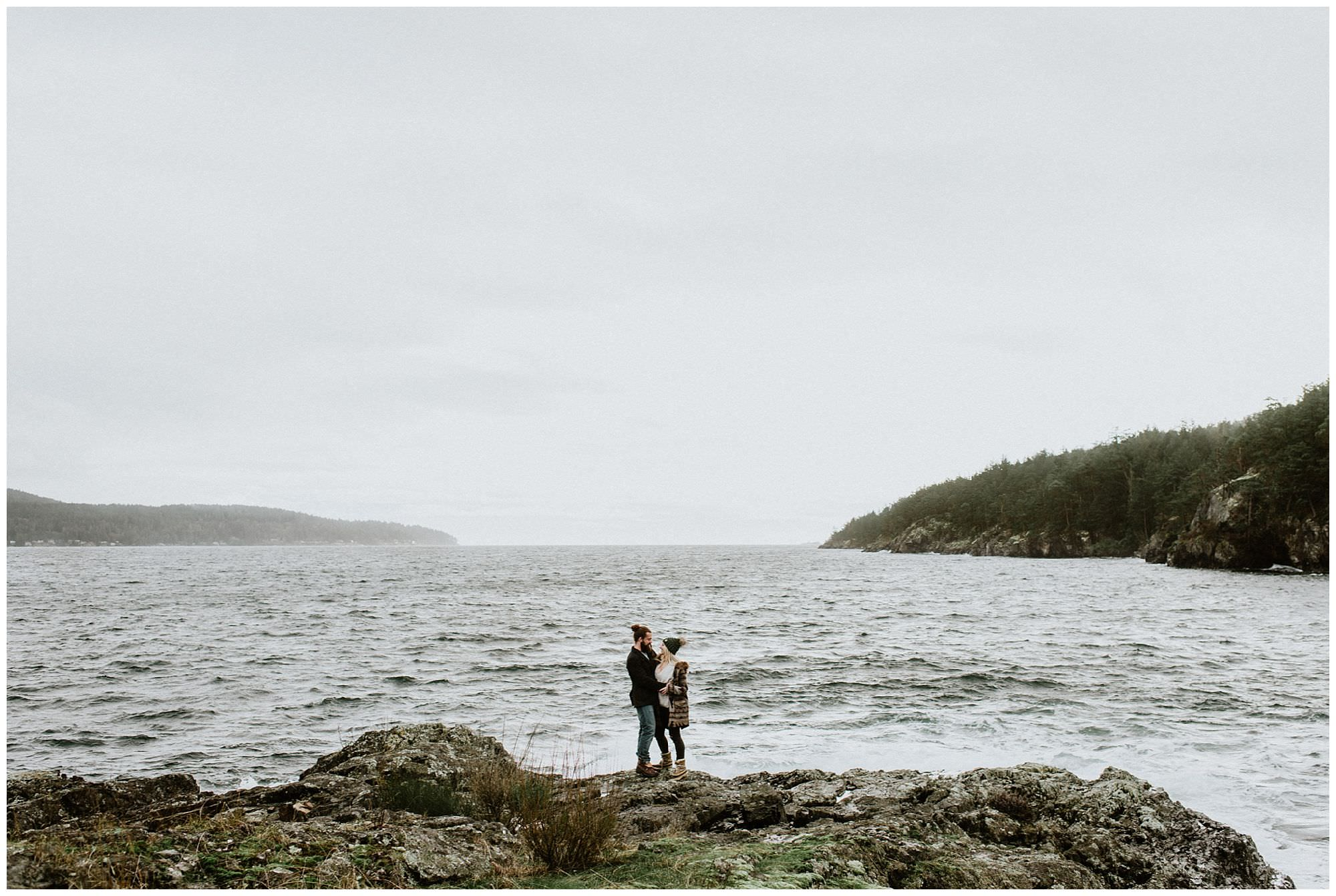 couple on rocky beach on Thormanby Island