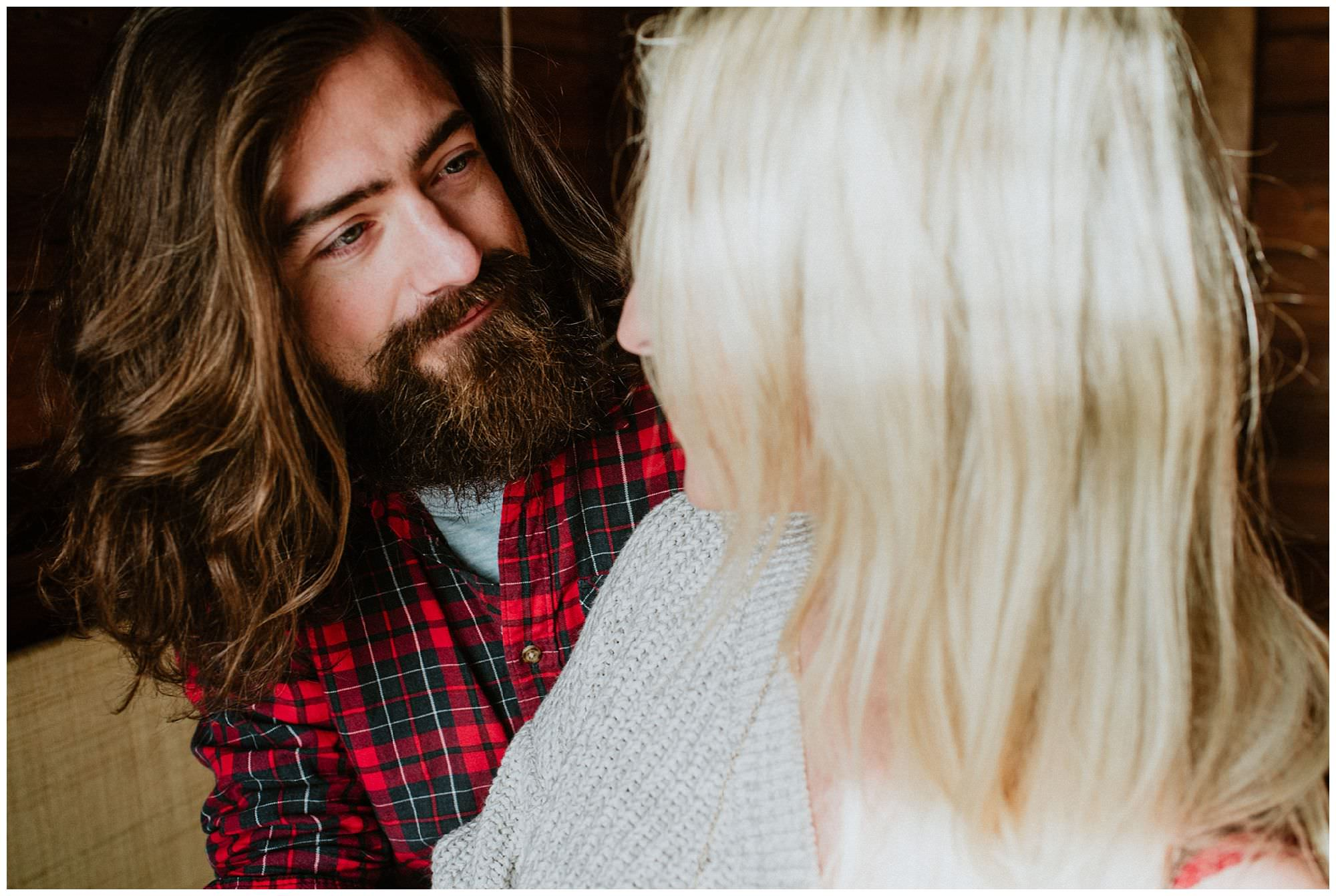 groom with long hair wearing plaid on Thormanby Island