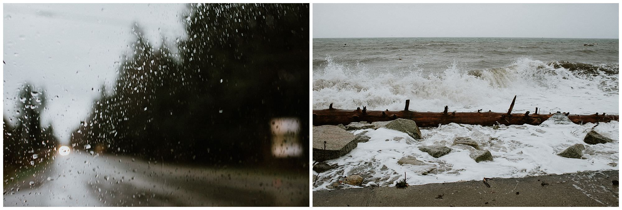 stormy engagement session near secret cove