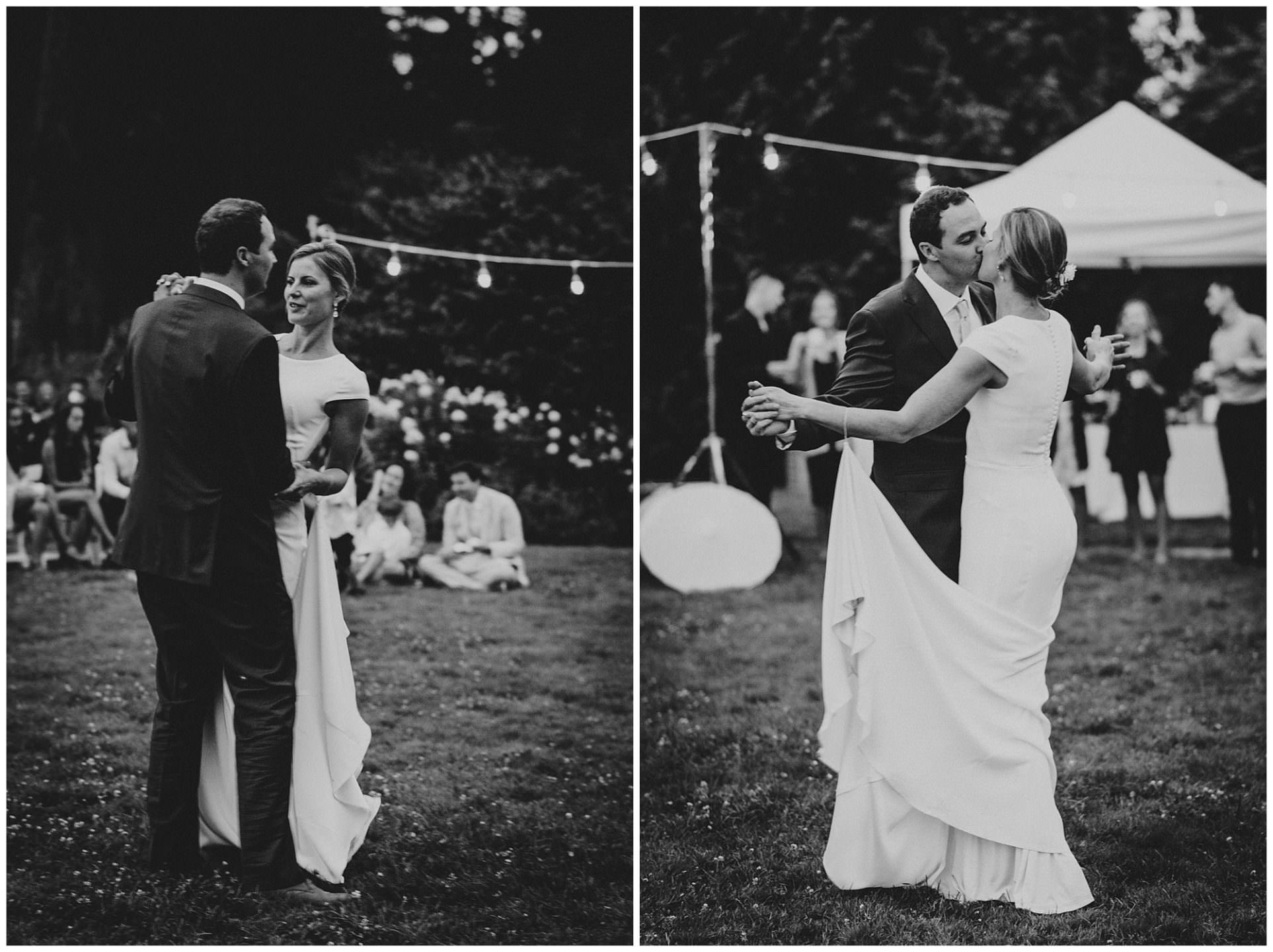 black and white photo of first dance at UBC Botanical Gardens wedding