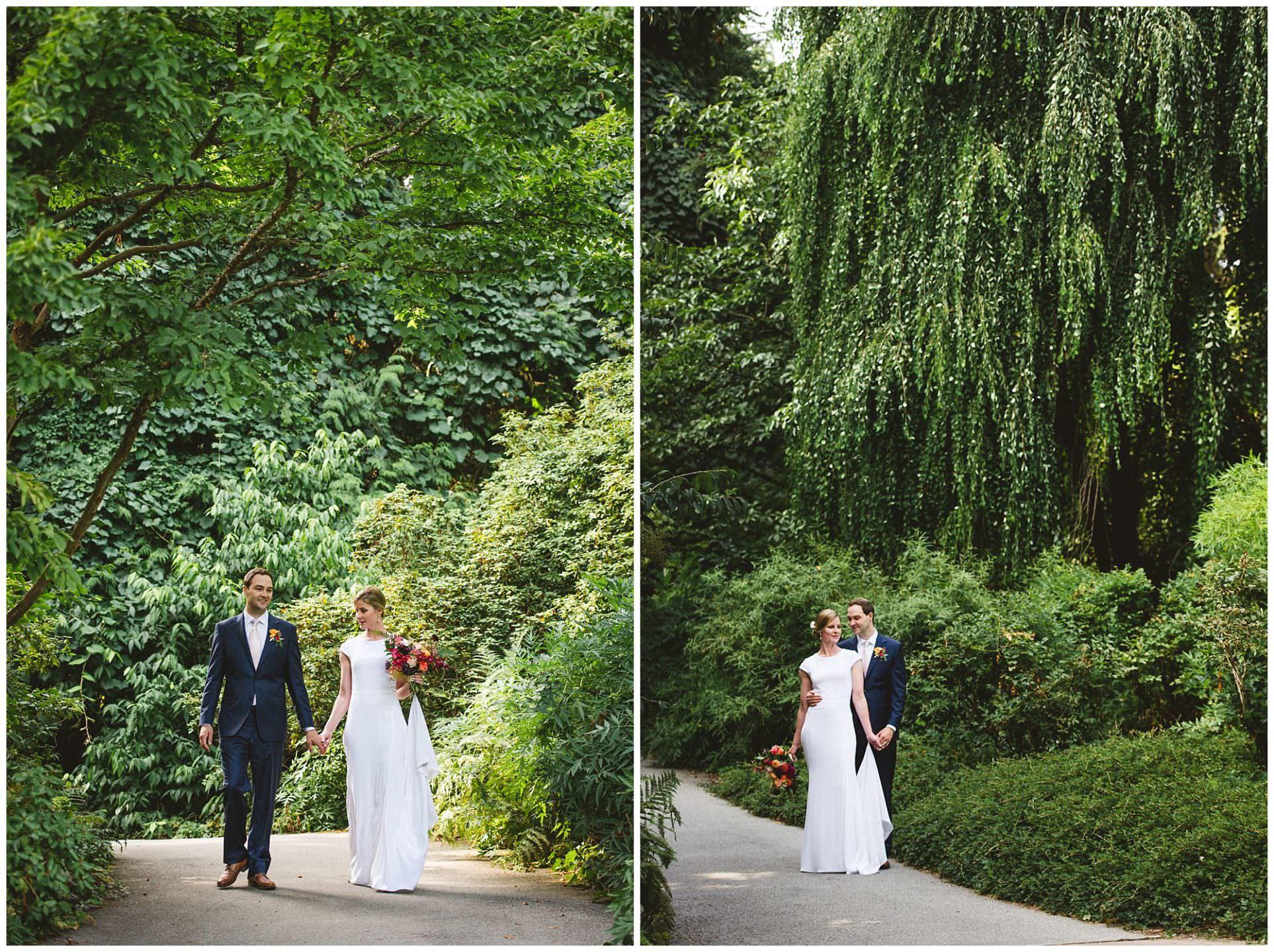 bride and groom walking through UBC Botanical Gardens