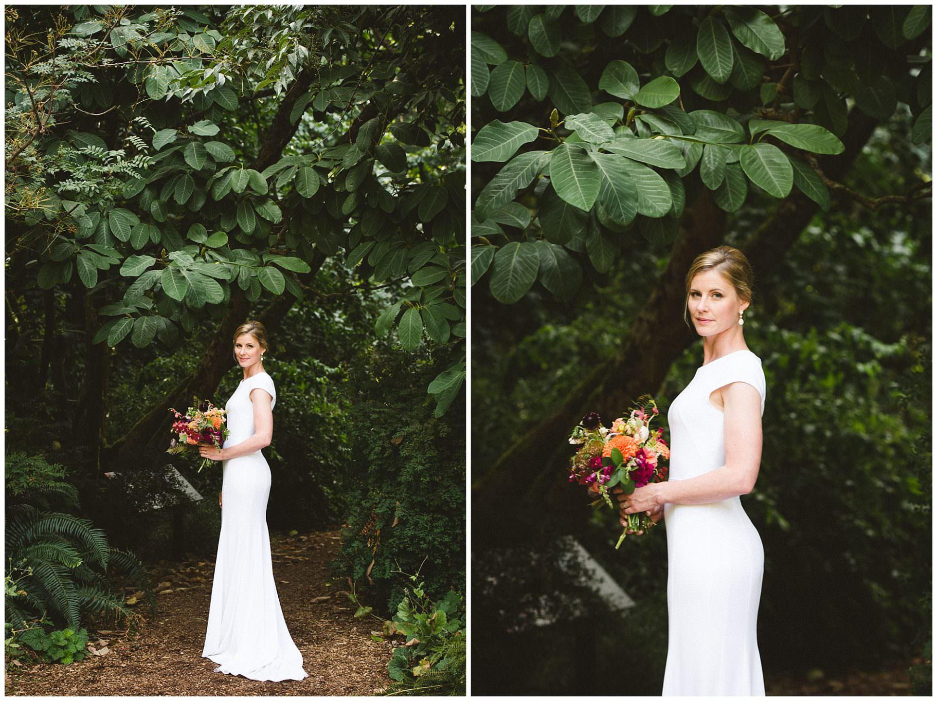 bride in handmade wedding dress in UBC Botanical Gardens