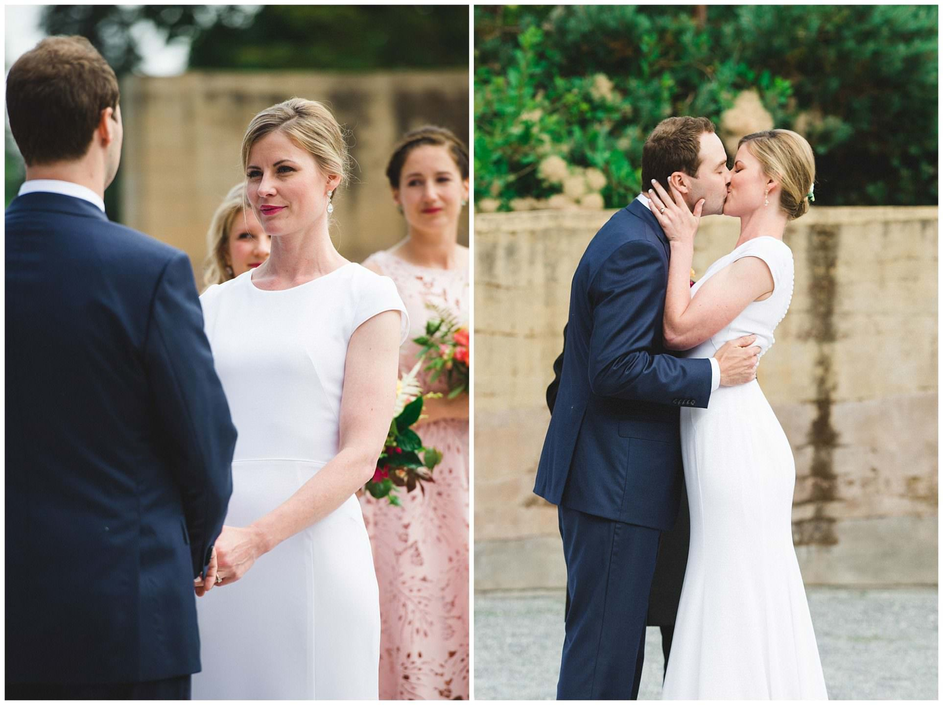 first kiss during wedding ceremony at Roseline Sturdy amphitheatre UBC Botanical Garden