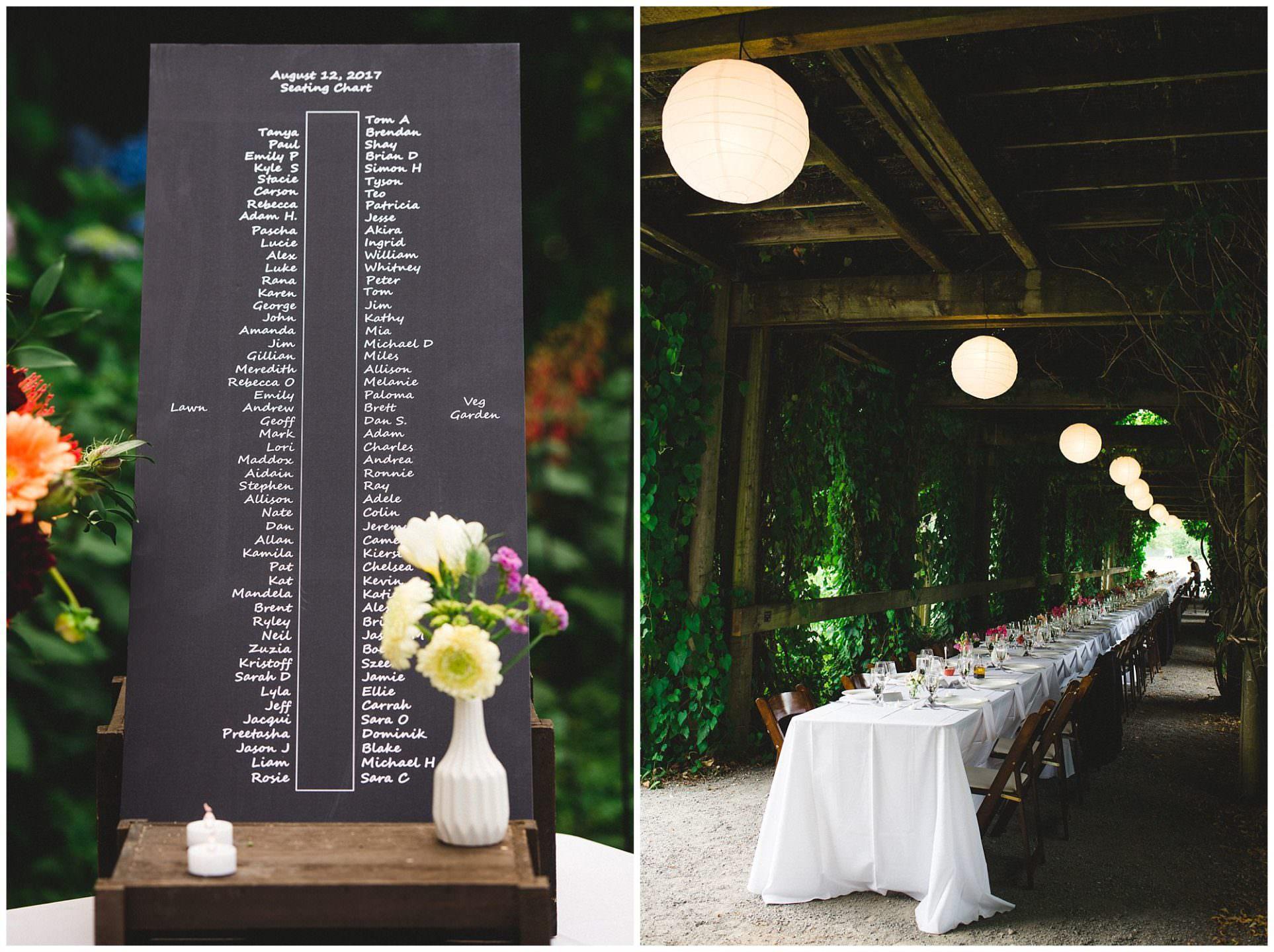 long table decor details at UBC Botanical Gardens wedding