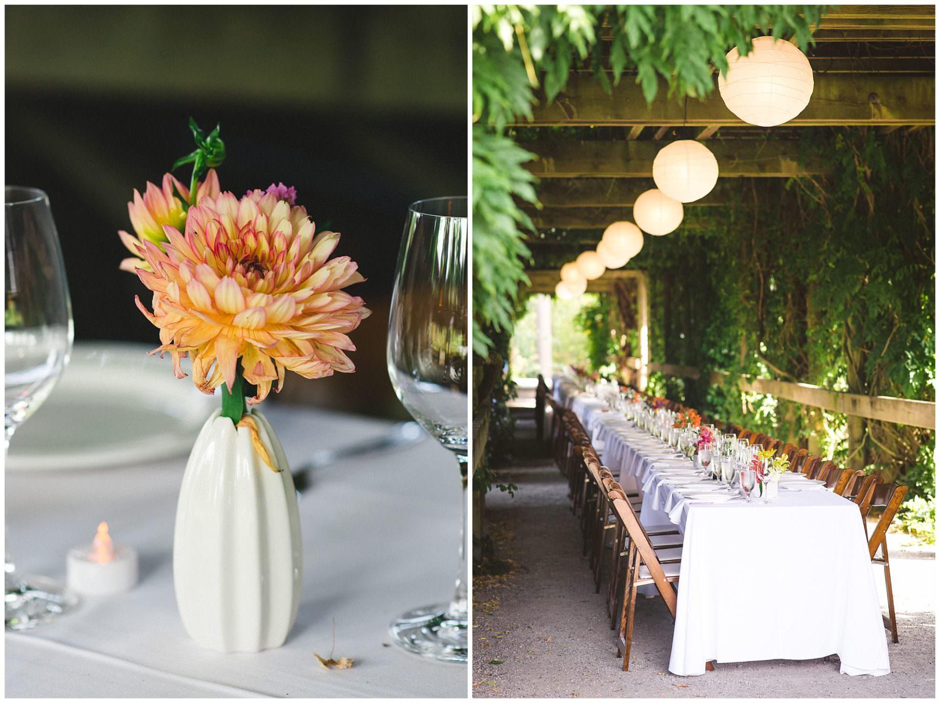 long table wedding reception at UBC Botanical Gardens