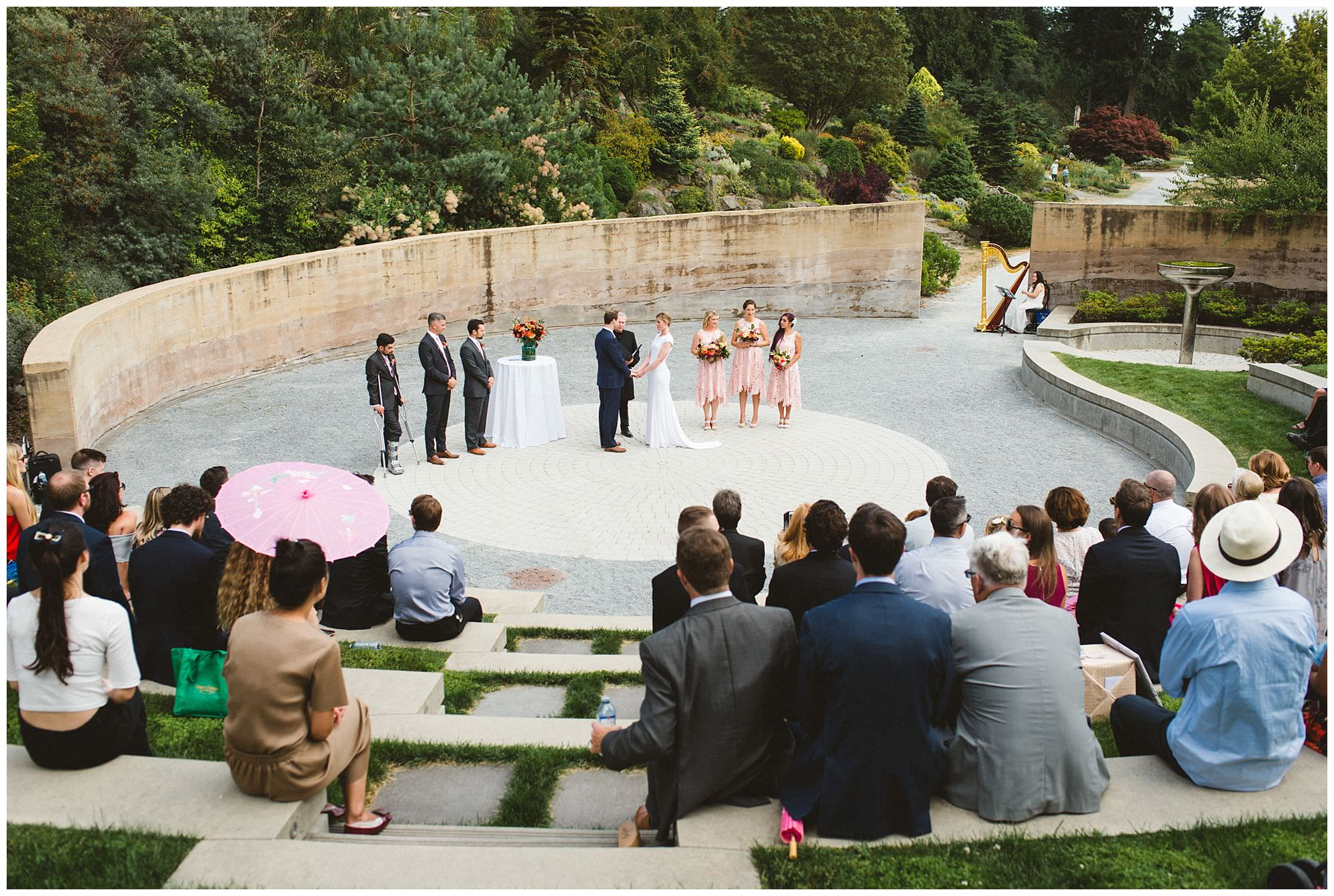 view of outdoor wedding ceremony at Roseline Sturdy amphitheatre UBC