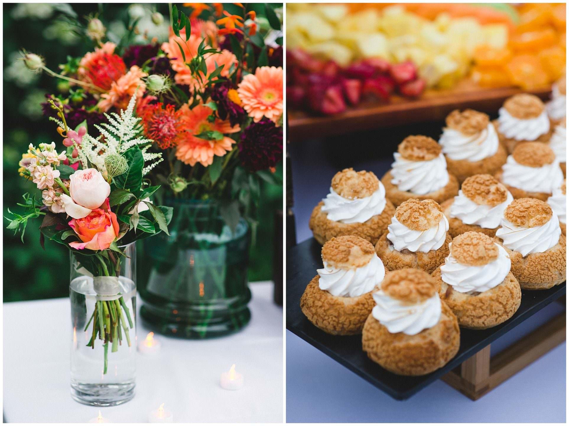 wedding details and deserts at UBC Botanical Gardens