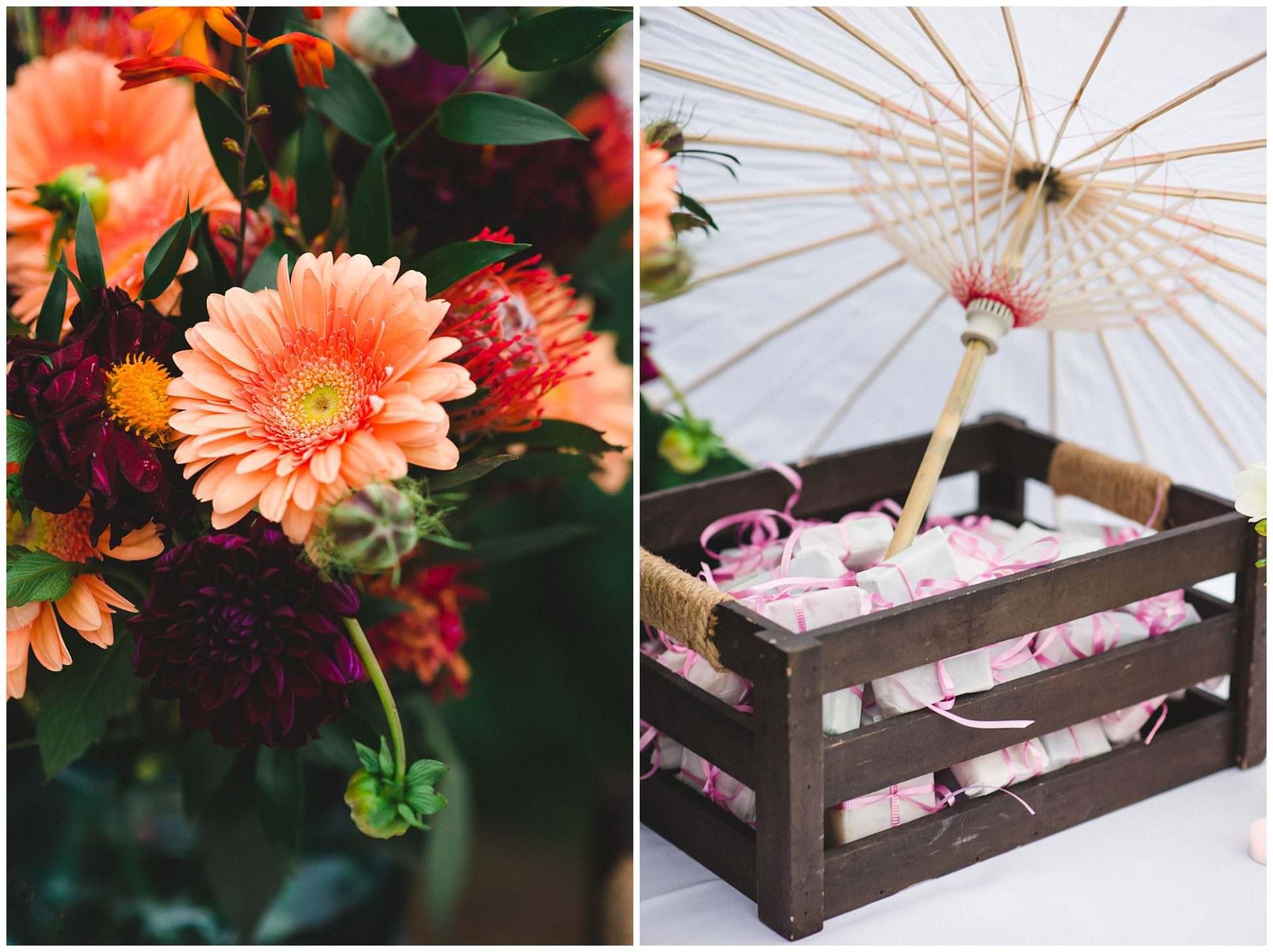 wedding details flowers at UBC Botanical Gardens