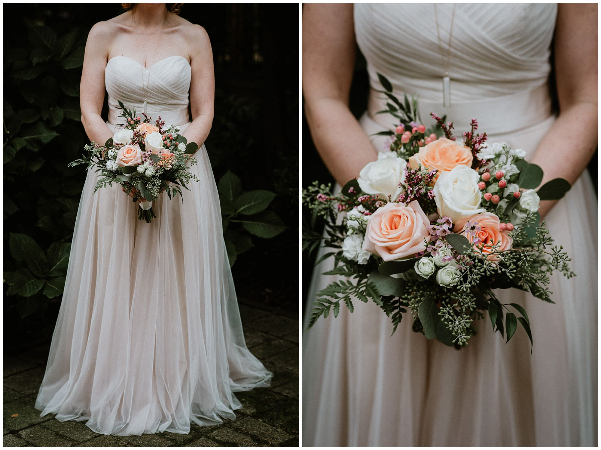 Blush Wedding Dress With Pink Bouquet The Loft Vancouver Vancouver Wedding Photography By