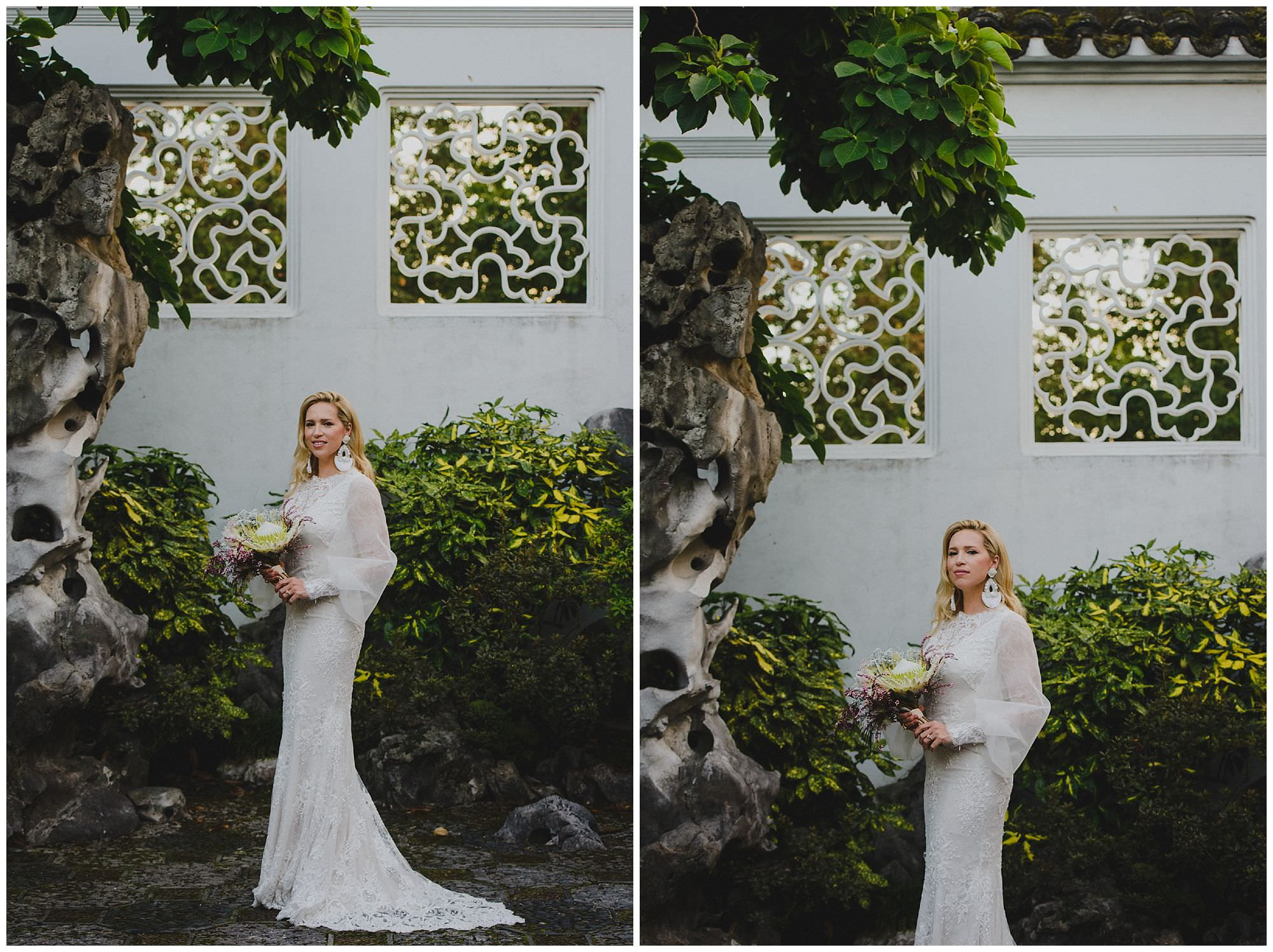 Bride in hand-made wedding dress with puffy sleeves at sunset at her wedding in Dr. Sun Yat-Sen Classical Chinese Gardens, Vancouver Wedding Photographer