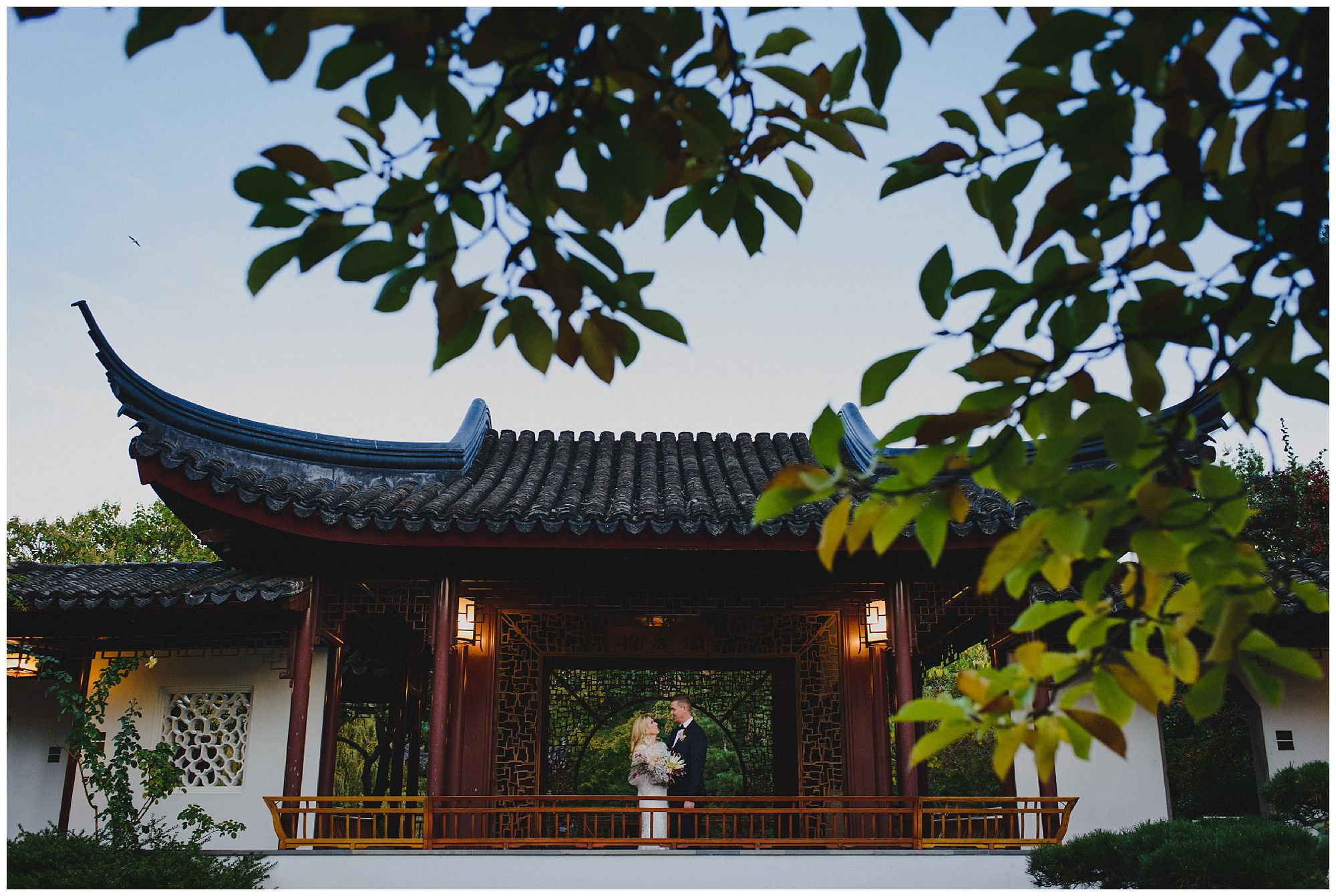 Bride and Groom at sunset after their wedding ceremony at Dr. Sun Yat-Sen Classical Chinese Gardens, elopement, intimate wedding, mature bride and groom