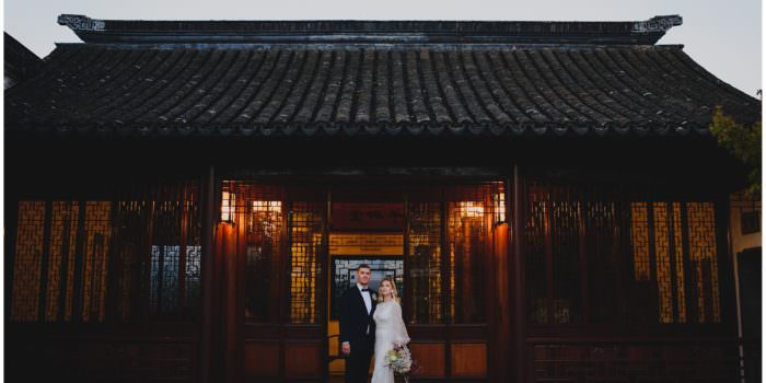 stylish bride and groom at sunset after their wedding ceremony at Dr. Sun Yat-Sen Classical Chinese Gardens, elopement, intimate wedding, candid wedding photography, sunset wedding photography