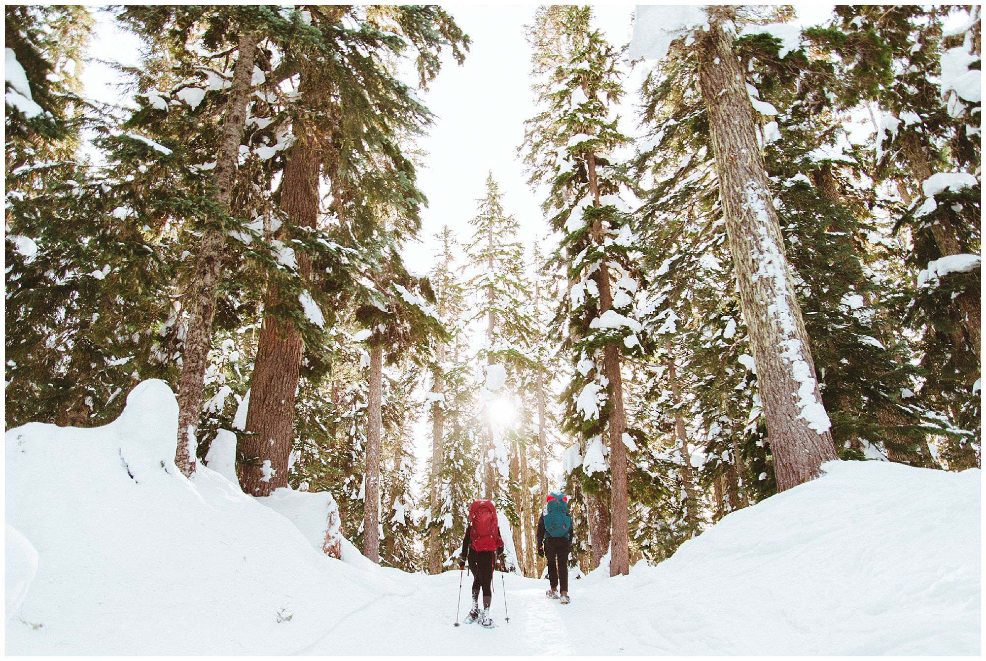 Two people snowshoeing through Garibaldi Park to Elfin Lake, Vancouver adventure photography by travel photographer Ronnie Lee Hill