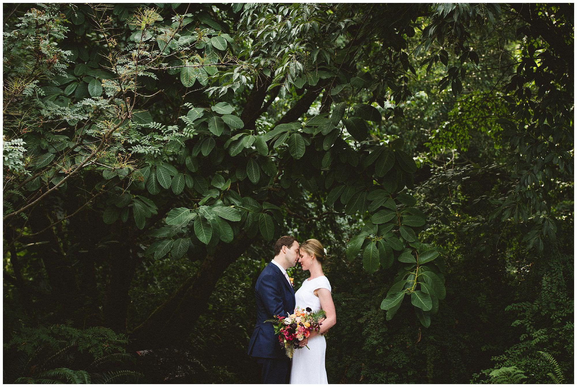 romantic wedding portrait at UBC Botanical Gardens, outdoor wedding, BC wedding photographer