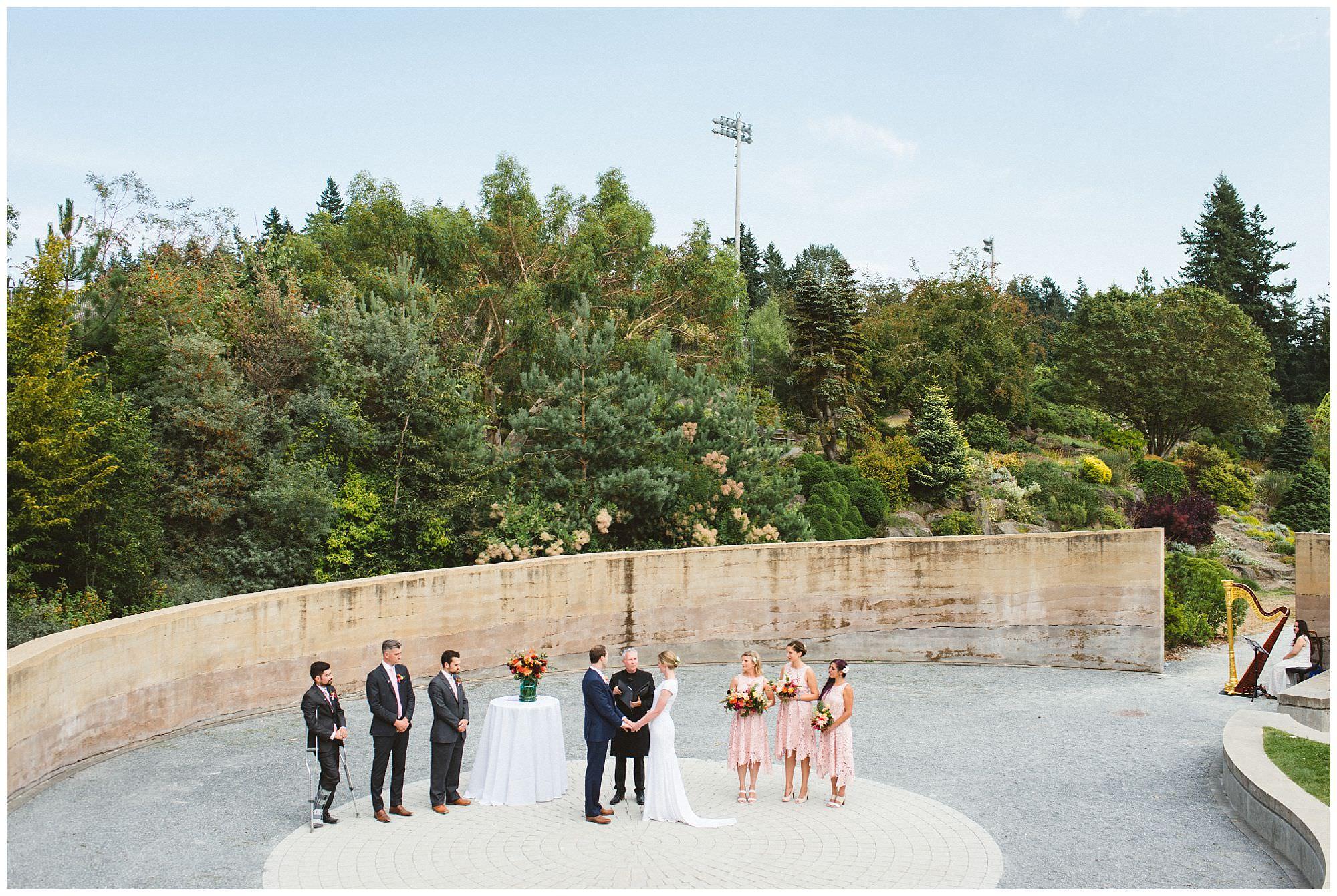 traditional outdoor wedding ceremony at UBC Botanical Gardens