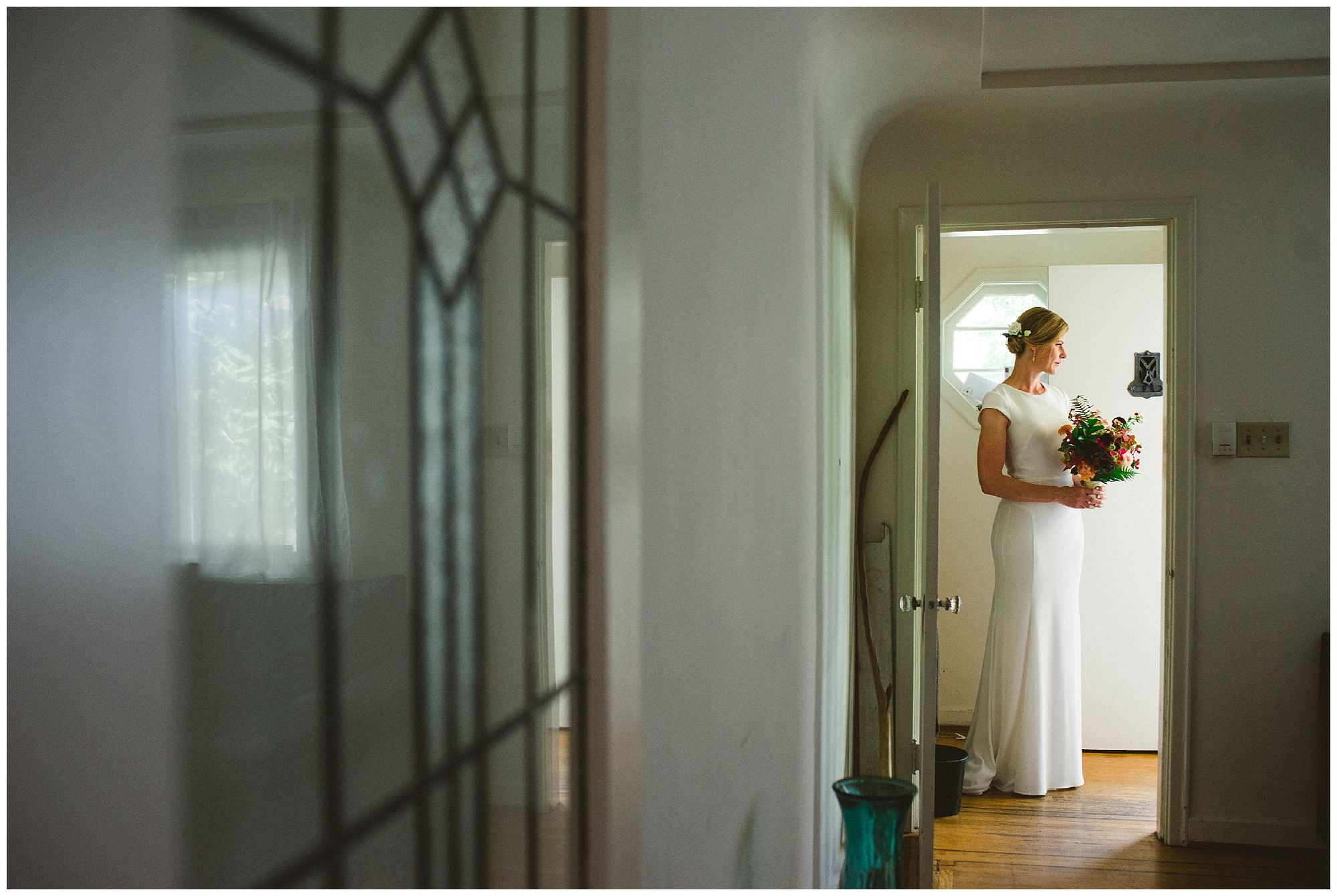 Bride getting ready at home in East Vancouver before DIY wedding at UBC Botanical Gardens, candid wedding photography