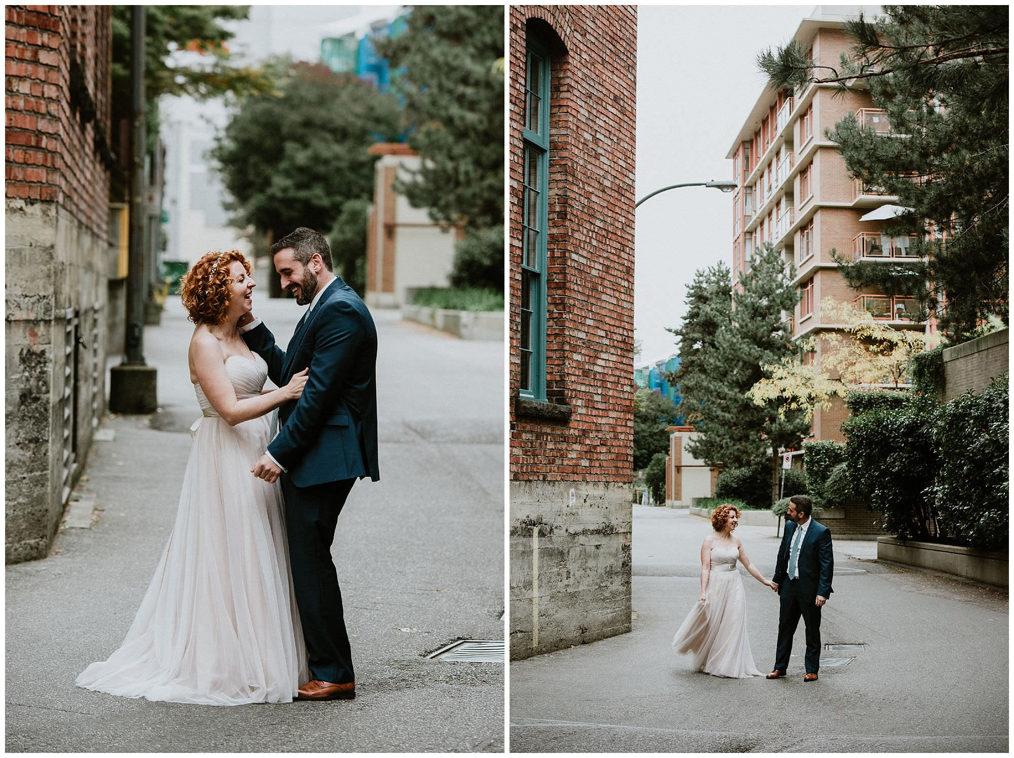 Bride and groom in Yaletown after their wedding ceremony at The Loft at Earls in Vancouver, candid wedding photography