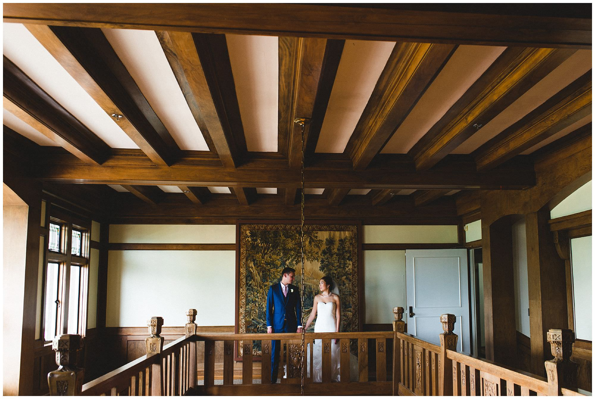 Vancouver bride and groom at their traditional wedding at Cecil Green Park House in Vancouver by candid wedding photographer Ronnie Lee Hill