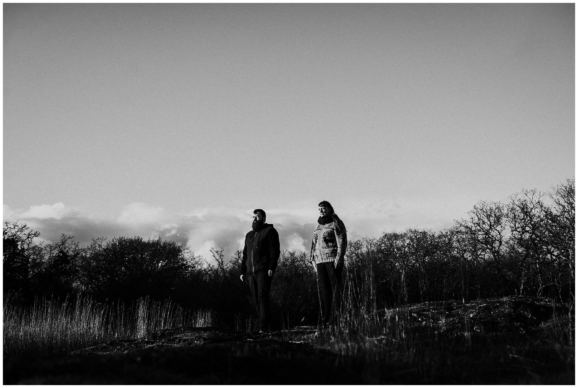 black-and-white-sunset-engagement-photography-at-cattle-point-victoria-bc