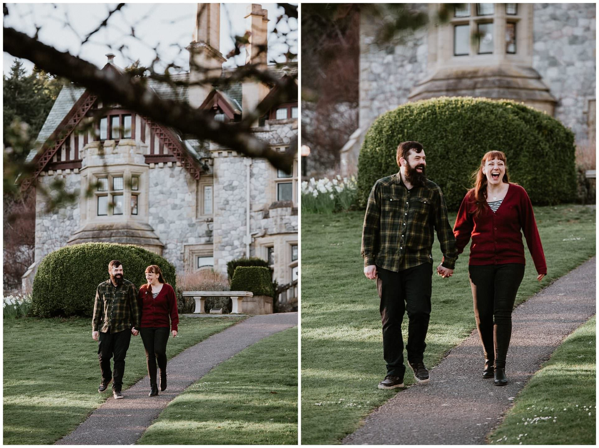 couple-walking-down-path-engagement-photography-at-royal-roads-university-victoria
