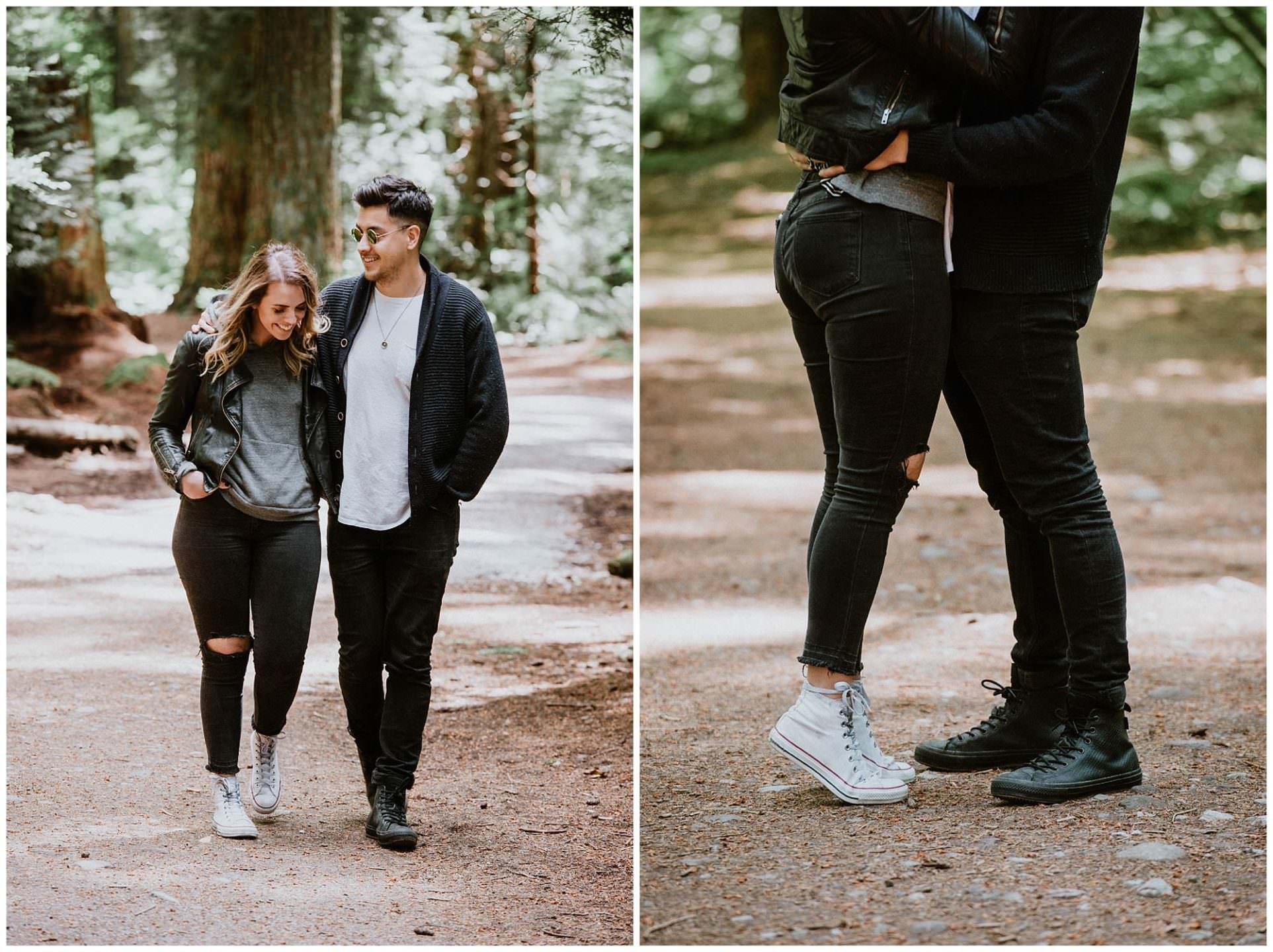 couple walking Pacific Spirit Park Vancouver engagement photo