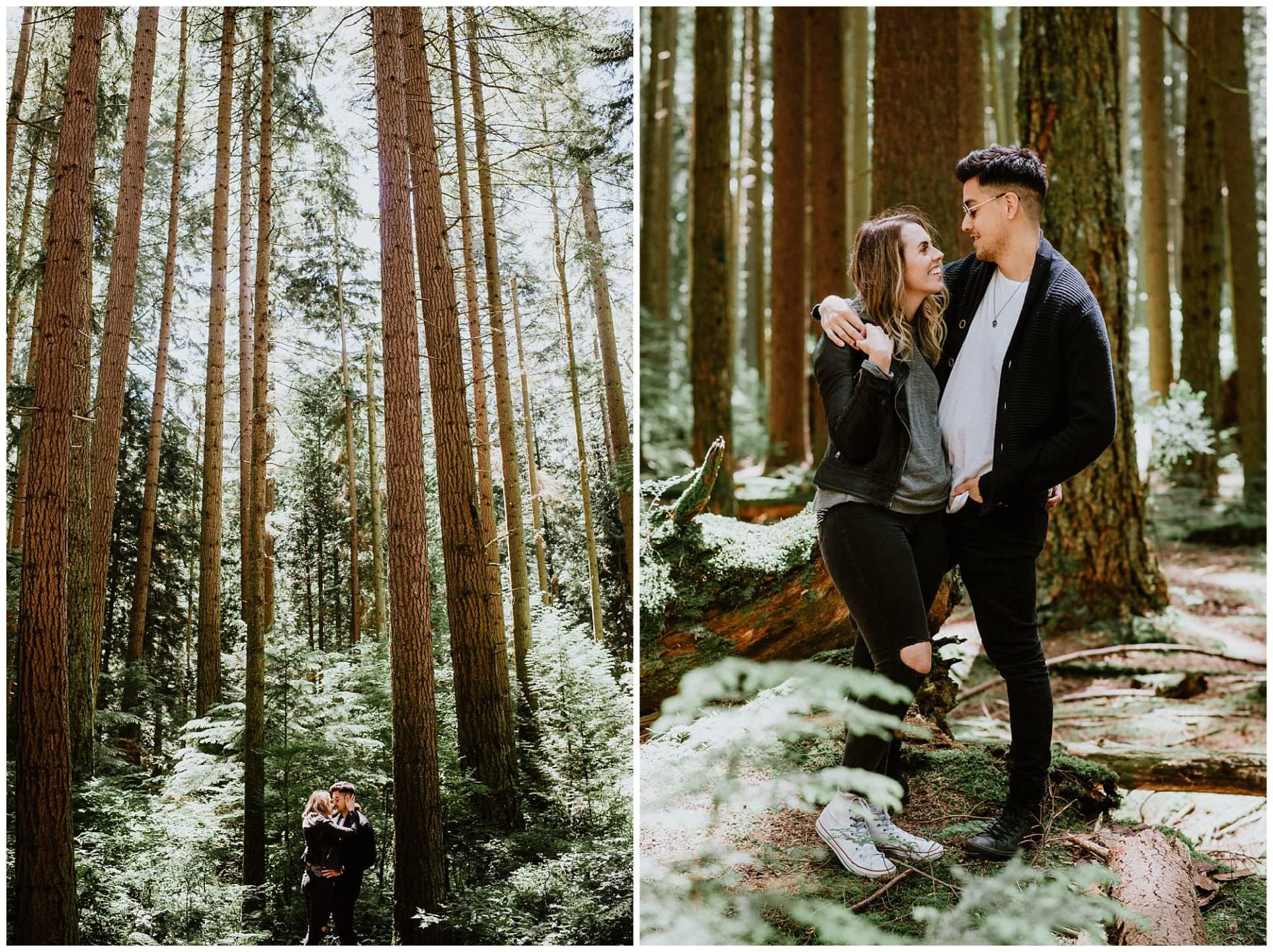 sunny engagement photos in Pacific Spirit Park Vancouver