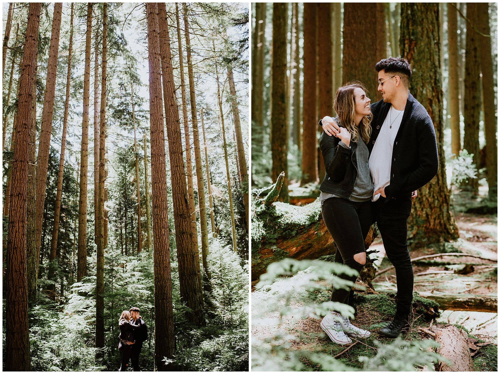 Vancouver wedding photographers, forest engagement photos