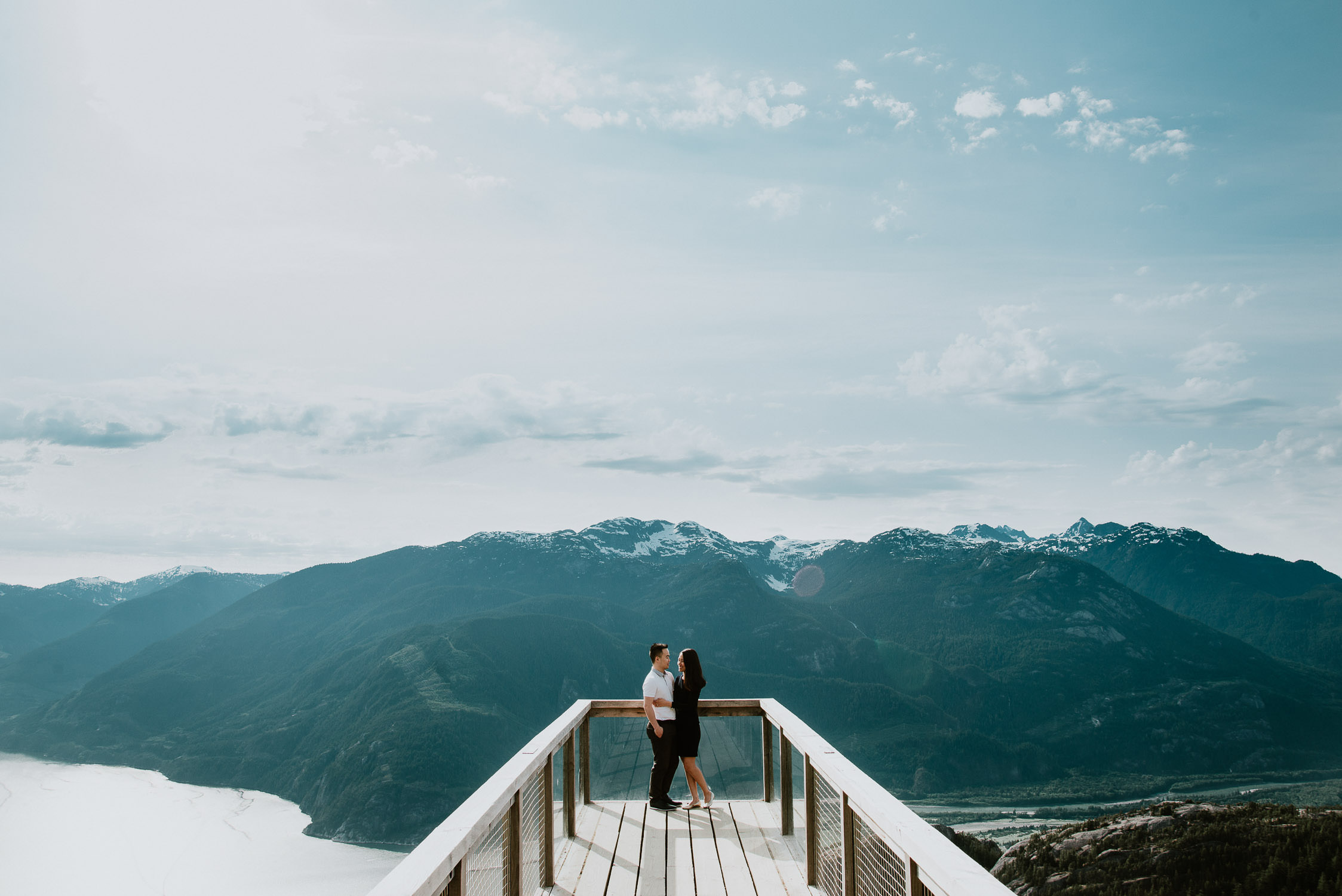 engagement photos on sunny day at Sea to Sky Gondola Squamish BC, best Vancouver wedding photographer