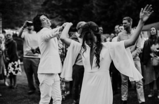 bride and groom dancing for first dance at wedding at Mount Baker