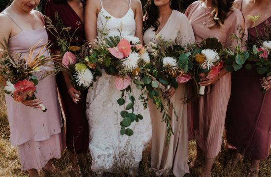 bridal bouquets at modern wedding bodega ridge valiant island bc