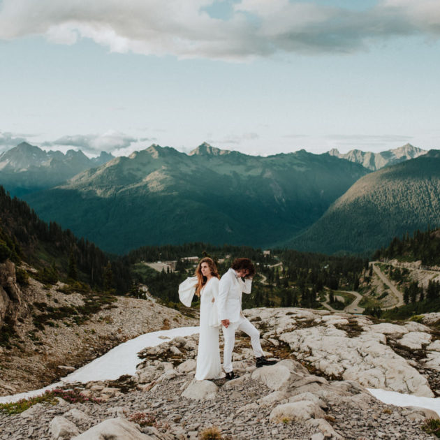 first look on top of Mount Baker, wedding at Mount Baker, adventure wedding photography, BC elopement photography by Ronnie Lee Hill Photography