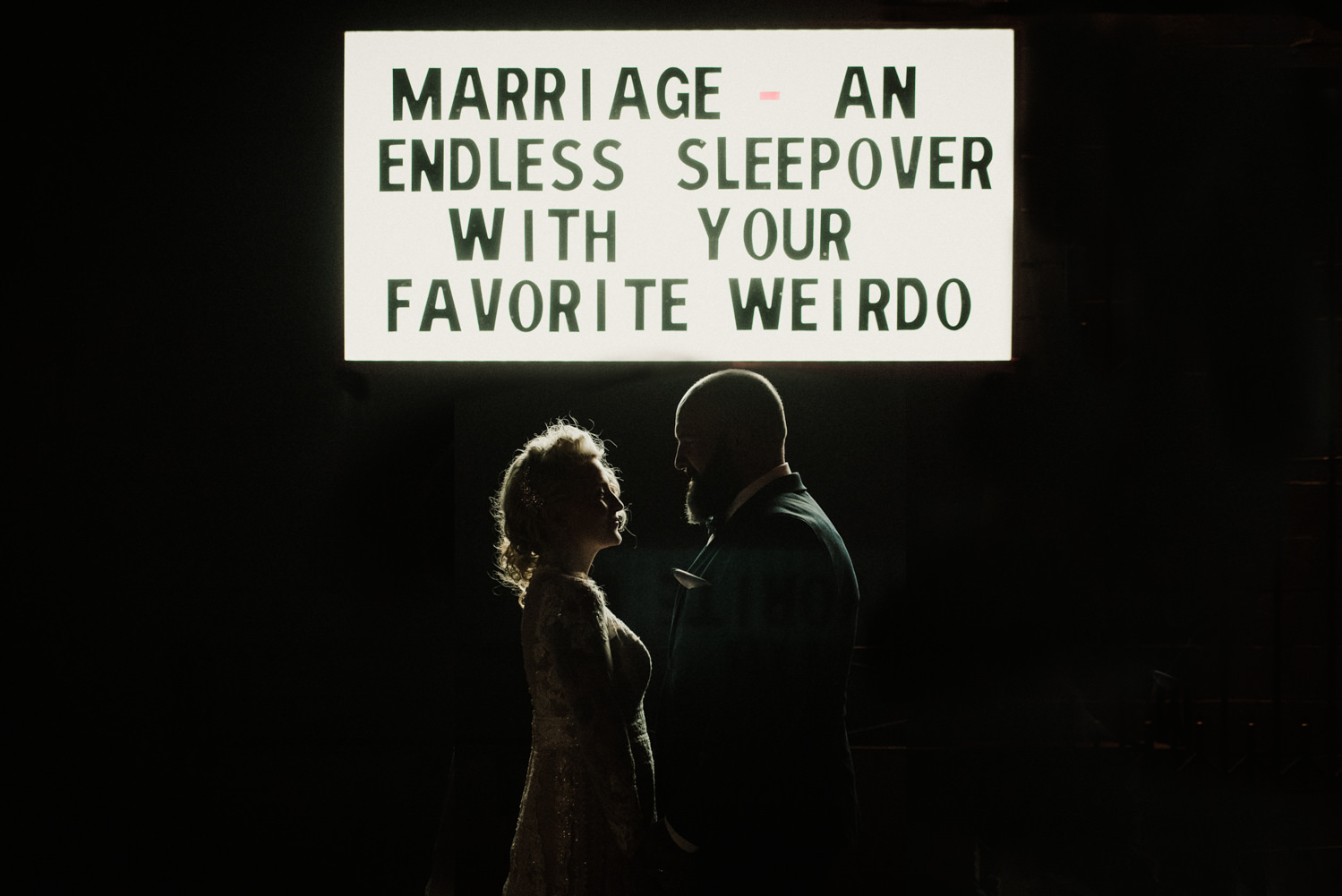 alternative bride and groom, east Vancouver wedding, DIY wedding, wedding marquee, wedding signage