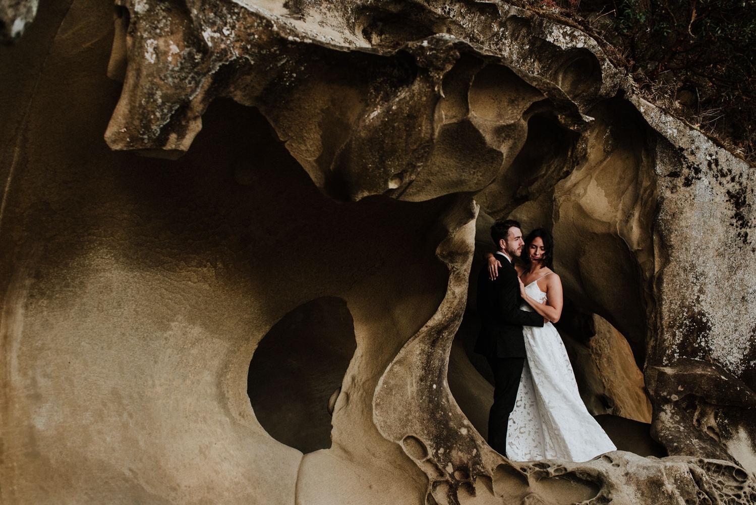 wedding at Bodega Ridge, wedding on Galiano Island BC, BC wedding photographer, Gulf Island wedding photographer, bride and groom in cave